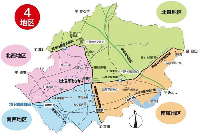 ごみ収集の4地区割り地図のイラスト
